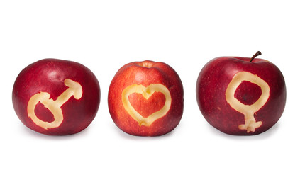 Male and female symbols carved on apples