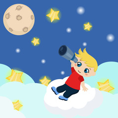 Cute boy watching through telescope at starry night