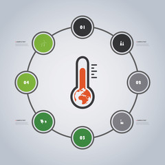 Minimal Eco Infographics Timeline Design with Circles - Global Warming