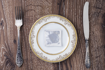 condom in a plate