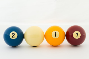 pool balls isolated on white