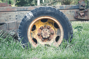 Old tire and wheel truck