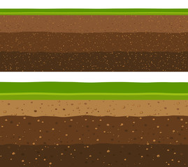 Layers of grass with Underground layers of earth, seamless ground surface design.
