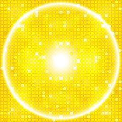 bright gold background of a circular mosaic