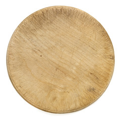 Old Round Wooden Chopping Board Isolated Top View