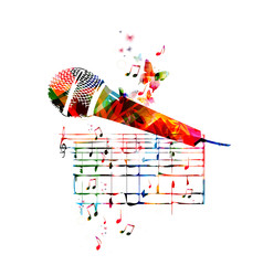 Vector illustration of colorful microphone with music notes