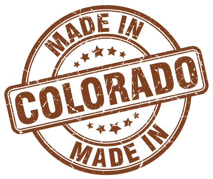 made in Colorado brown grunge round stamp