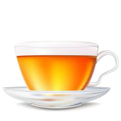 Реалистичный вектор чашка травяного натурально чая на изолированном фоне