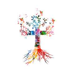 Vector illustration of colorful cross with butterflies