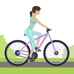 Woman riding a bicycle outdoor. Woman cycling in the park. Vector.