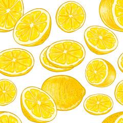 Seamless lemons pattern on a white background. Vector.