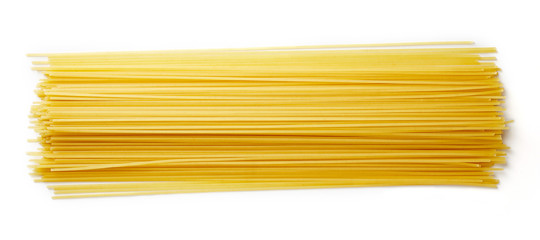 Spaghetti pasta isolated on white, from above