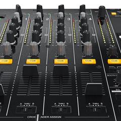 Digital dj mixer control table panel professional equipment, close view. 3D graphic