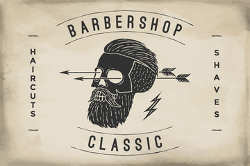 Poster of Barbershop label on a beige paper texture. Retro vintage hipster skull for brand, logo or t-shirt print. Logo template for branding design. Business concept and identity symbol. Vector