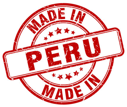 made in Peru red grunge round stamp