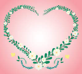 pastel heart leaf and flower crown and space background vector