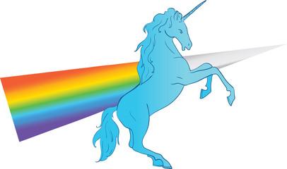 Unicorn silhouette icon logo with rainbow