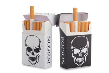 Pack of cigarettes with a skull pattern on a white background