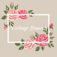 Background with vintage roses. Decorative retro flowers. Image for wedding invitations, romantic cards, booklets