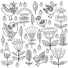 Floral, retro, doodle, vector design element.