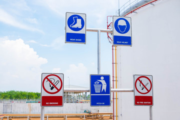 Caution sign in fuel oil storage area of power plant