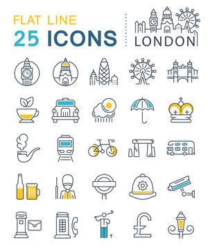 Set Vector Flat Line Icons London