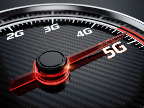Wireless network speed. 5G high speed internet concept. 3d render