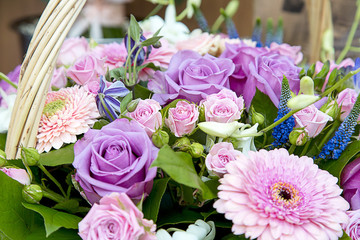 Beautiful bouquet of flowers with a purple rose