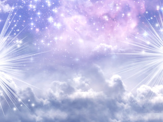Wall Mural - a divine mystical magic sky with stars and rays of Light