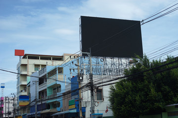 Outdoor Empty Black Billboard LED for advertising on a building