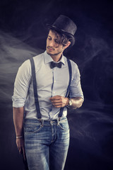 Stylish hipster with glasses and bow-tie