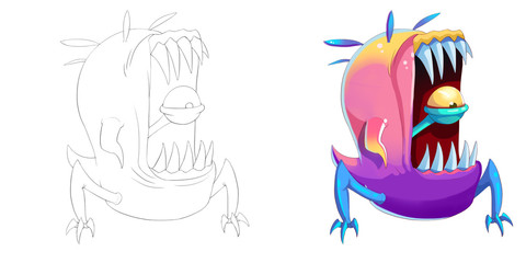 Coloring Book and Monster Creature Character Design Set 44 Big Mouth Teeth Man-Eating Creature Monster isolated on White Background Realistic Fantasy Cartoon Style Character Story Card Sticker Design