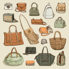 Vector illustration of woman fashion collection of bags. Hand-drown objects sketch isolated on beige background.