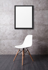 Poster in grunge cement texture room with white chair