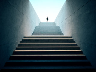 Success business concept. People climbed on top of the stairs