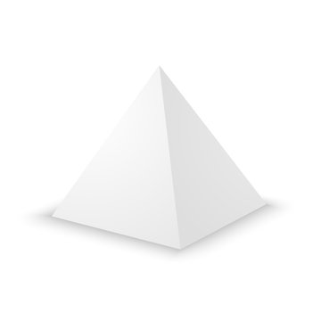 Blank white pyramid, 3d template.