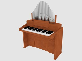 wooden organ instrument isolated 3D object