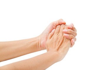 Hands clasped hands with hope isolated on white background