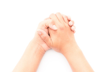Woman hands praying on white background, religion concept