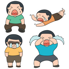 vector set of boy crying