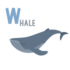 blue whale and letter