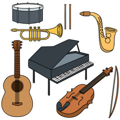 vector set of music instrument