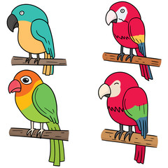 vector set of parrot