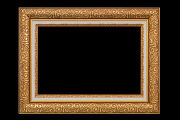 Antique golden frame isolated on black