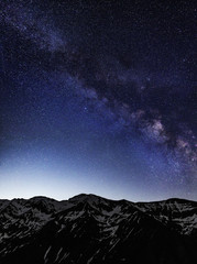 Milky Way galaxy over mountains