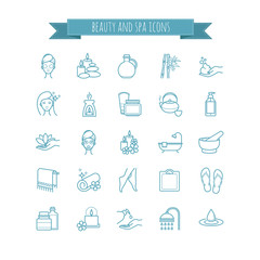 Spa and Beauty vector  thin line icon set