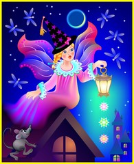 Beautiful fairy dreaming in the nighttime, vector cartoon image.
