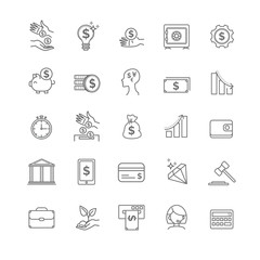 busines, money and finance vector thin line icon set