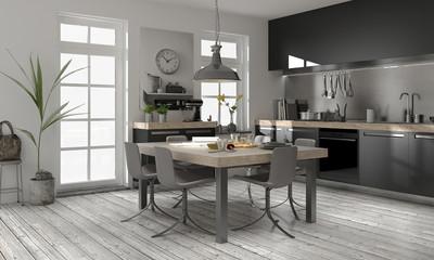 Moderne Küche Mit Edlem Holz Einbauküche, Wohnküche