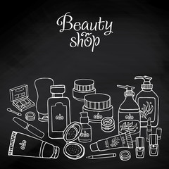 Vector hand drawn card template with make up objects – shampoo, cream, lipstick, mascara nail-polish, perfume, lotion, eyeshadow. Doodle cosmetics background for beauty shop on chalkboard.